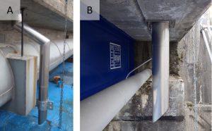 天板プレート一体型排水管使用例 曲管と直管