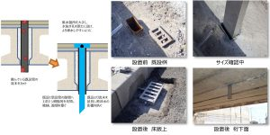 橋梁用排水桝を補修でプレテンホローへ設置例