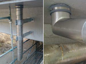 高気密ステンレス排水管に溢水防止パッキン(RDジョイント)使用例