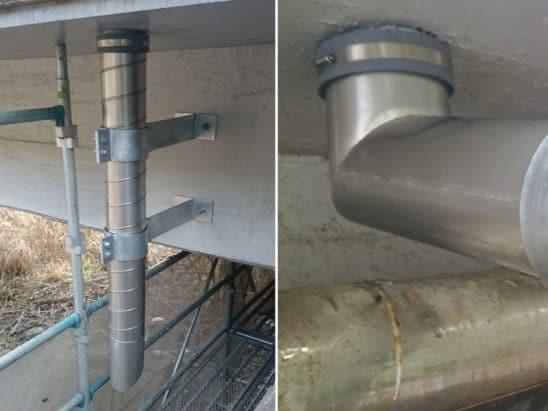 橋梁用排水管、桝接続箇所施工例