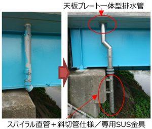 橋梁用排水管補修にて上下部伸縮管使用例